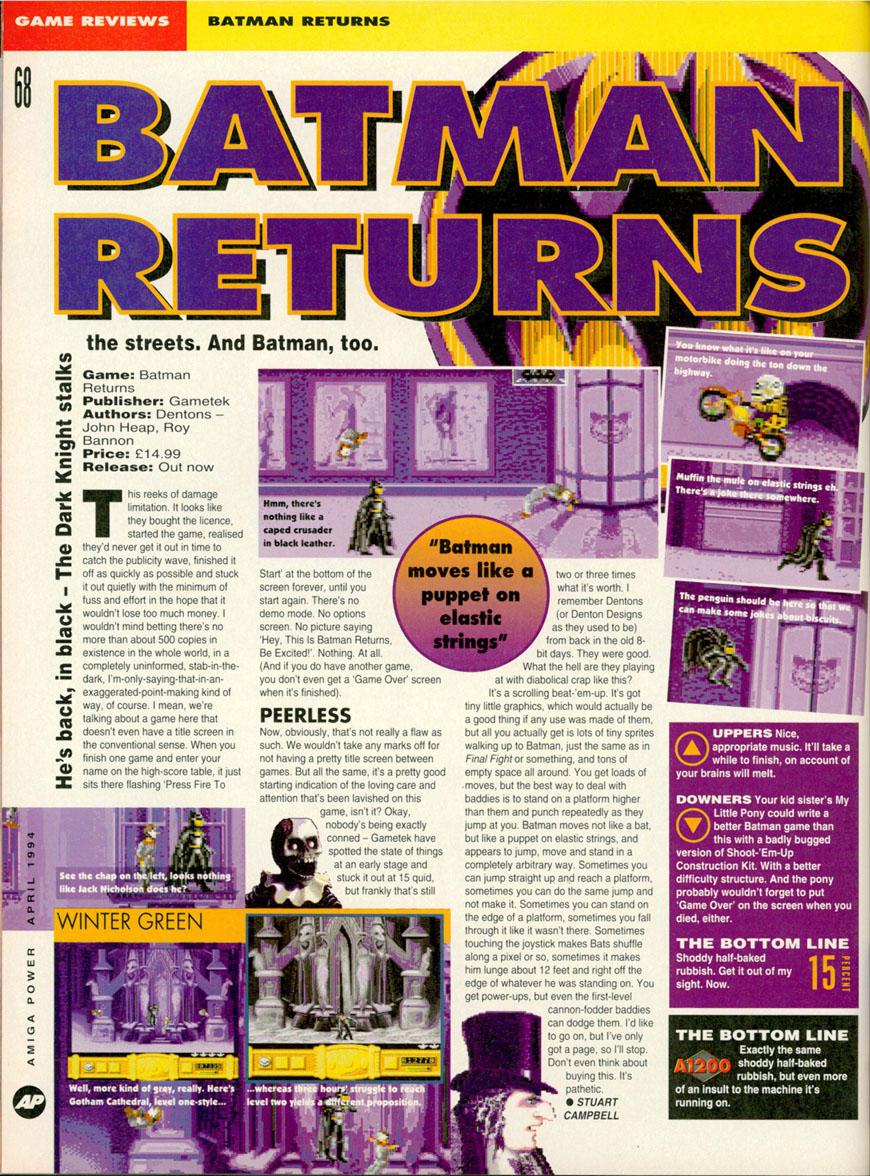 Gallery / Batman Returns Amiga